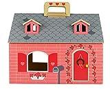 klappbares Puppenhaus aus Holz mit Griff zum Mitnehmen - mit Möbel und Püppchen - 19-teilig