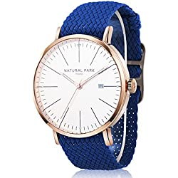 Unisex Dress Rose Gold Watches with White Dial Date Nylon Strap