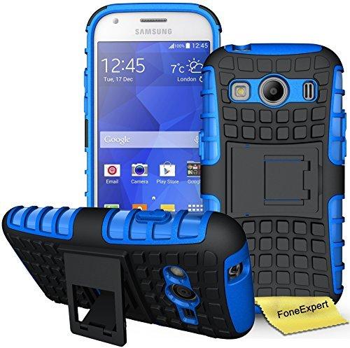 Samsung Galaxy Ace 4 Handy Tasche, FoneExpert® Hülle Abdeckung Cover schutzhülle Tough Strong Rugged Shock Proof Heavy Duty Case für Samsung Galaxy Ace 4 SM-G357 + Displayschutzfolie (Blau)