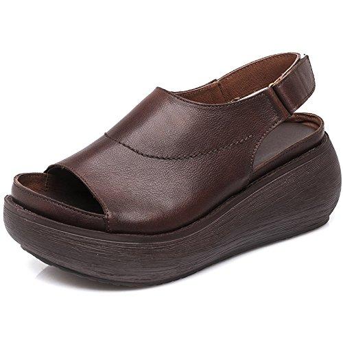 Schwarz-keil-bogen (Xsj Echtes Leder Frauen Sandalen Schwarz 6 cm High Heels Sommer Schuhe Damen Sandalen Weichem Leder Handgefertigten Schuh Slip on,Brown,36)