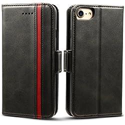 """Rssviss Housse iPhone 6/7, Etui pour iPhone 6/6s/7/8 en Cuir PU Portefeuille Universel [4 emplacements pour Cartes et Monnaie] avec [Fermeture magnétique] iPhone 6/6s/7/8 Carte Coque Rabat 4,7"""" Noir"""