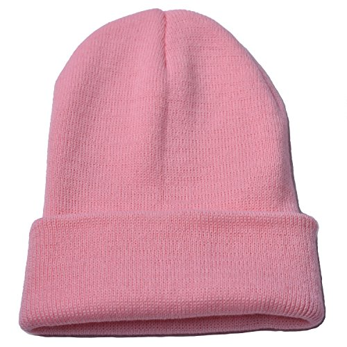 outrip-beanie-cap-winter-hats-for-men-women-knitted-warm-hat-solid-color-light-pink