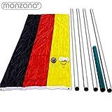 MONZANA® Aluminium Fahnenmast 6,50 m, inkl. Deutschland Fahne + Bodenhülse + Zugseil Vergleich