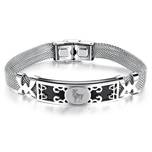 Ilove eu acciaio inossidabile bracciale braccialetto bangle polsino argento nero ariete oroscopo zodiaco segno zodiacale della maglia catena da uomo