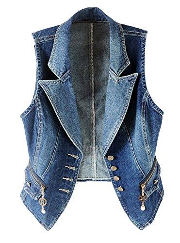 Cystyle 2018 Damen Loch BF Stil Blazer Weste Jacke Ärmellos Einfache Beiläufige Jeansweste (EU M=ASIA 2XL)