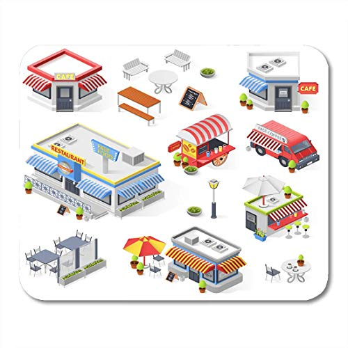 Deglogse Gaming-Mauspad-Matte, Umbrella of Street Restaurant and Cafe Isometric with Hot Dog Carts Fast Food Truck and Mini Market Mouse Pad,Desktop Computers Mouse Mats, (Restaurant, Cart)