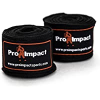 Cintas protectoras de manos Pro Impact para boxeo y MMA, estilo mexicano, 4,57 m, 1 par, color negro … (negro)