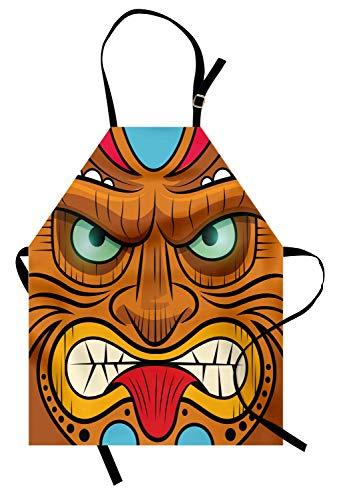 ABAKUHAUS Tiki-Bar Kochschürze, Karikatur-Art-verärgerte schauende Tiki-Kriegers-Masken-bunter Ikonen-Totem-Kultur-Druck, Farbfest Höhenverstellbar Waschbar Klarer Digitaldruck, Mehrfarbig