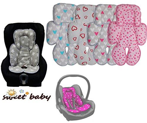 Sweet Baby ** SLEEPY Auto-Sitzverkleinerer / NeugeborenenEinsatz Antiallergikum HEARTS ** Passend für Babyschalen Gr. 0/0+ und Gr. 1 ** Ideal auch für Maxi Cosi, Cybex etc. sowie Kinderwagen, Babywanne etc. (Rosa / Rosa Herzchen)