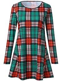 Longra Damen Karierte Bluse Langarm Oversize Hemd Button Longshirt Top Damen  Hemd Langarmshirt Kariertes Hemd Karohemd 43f4c485cd