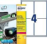 Avery 80 Etiquettes Autocollantes Ultra Résistantes - 99,1x139mm - Impression Laser - Blanc (L4774)
