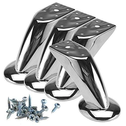 4x Möbelfuss Stützfuss Sofafuss Tischbein Möbelzubehör Chrom glänzend 120mm - Chrom Verstellbare Hocker