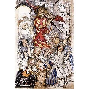 Posterlounge Holzbild 20 x 30 cm: Der Rattenfänger und die Kinder von Arthur Rackham/Bridgeman Images