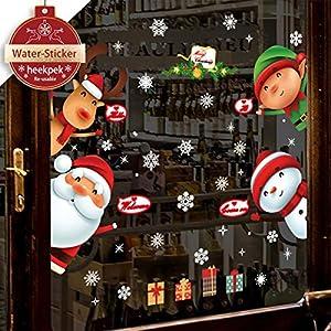heekpek Natale Vetrofanie Display Rimovibile Adesivi Murali Fai da te Finestra Decorazione Vetrina Wallpaper fiocco di… 51QGh rQyrL. SS300