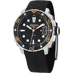 Alpina Diver Damen-Armbanduhr 37mm Armband Kautschuk Schwarz Gehäuse Edelstahl Batterie AL-240LBO3V6