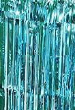 selbstklebender Lametta Vorhang in türkis, Größe 91 x 244 cm, Party Deko Fenstervorhang Foto Hintergrund glitzer Vorhänge Metallfolie Goldfolie Streifenvorhang Fensterdekoration Tür, Farbe:Türkis