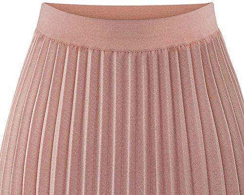Femme Jupe Longue Plissée Style Rétro Vintage Taille Bande Elastique Maxi Jupe pink
