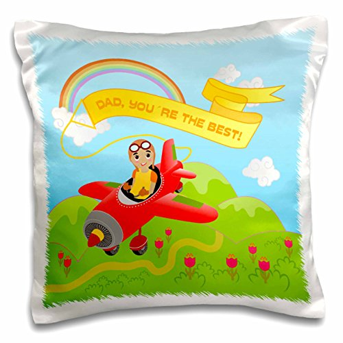Belinha Fernandes - Gifts for Fathers Day - Afro-American boy pilot flying red aeroplane over the fields with flowers with a message for dad - 16x16 inch Pillow Case (pc_125892_1)