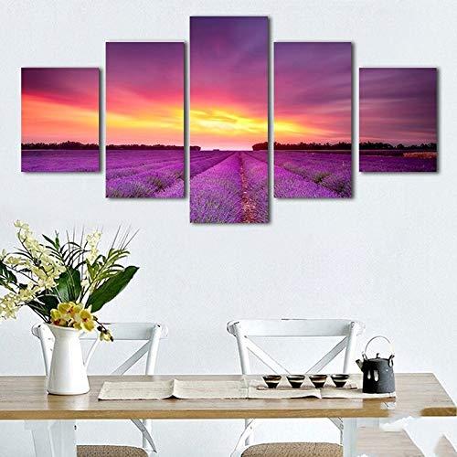 Lienzo Moderno HD Impreso Wall Art Pictures 5 Unidades Lavanda Romántica Mar Puesta de Sol Paisaje Cartel Habitación Decoración para el hogar