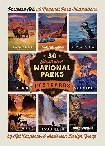 Anderson Design Group National Parks: Kai Carpenter bebilderte 30-Postkarten-Set -