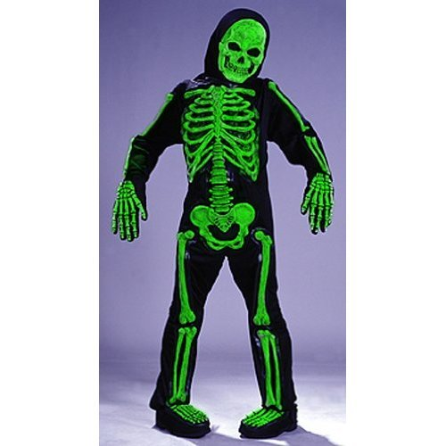 Skelebones Child Skeleton Green Medium Fancy -