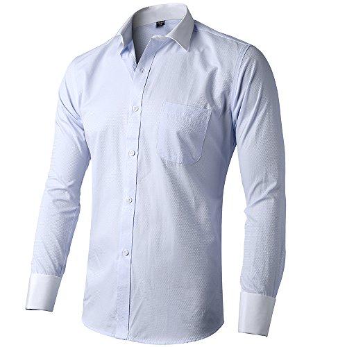 INFLATION Herren Hemd Business Freizeit Langarm Hemden mit Manschettenknöpfe Sanfter Stoff- Gr. XL/ EU 43, Blau-Jacquardbindung