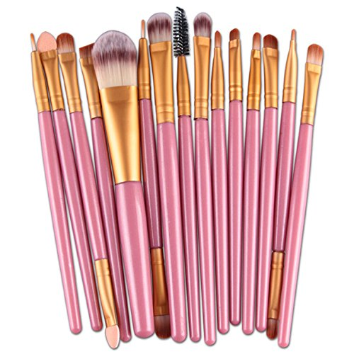 Homebaby Pinceau Maquillage 15 pcs/ensembles Eye Shadow Foundation brosse à lèvres sourcils pinceau maquillage outil (Rose)