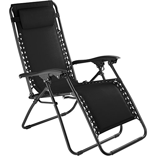 tectake 800583 Chaise Longue Toile Tendue, Pliable, avec Rembourrage de Tête Amovible, Charge Max: 110 kg - diverses Couleurs - (Noir | n° 402927)