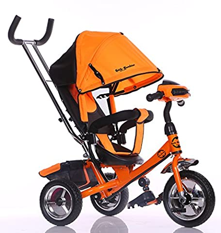 Little Bambino 4 IN 1 Canopy Kids Tricycle For Toddler Age 1-6 Year Old Bike Trike n Ride Push Handle Buggy Pram | Orange