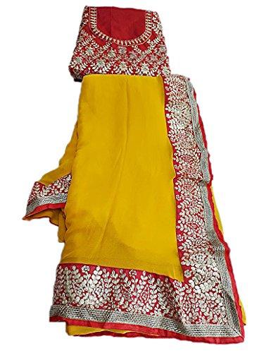K.K.Sales Viscose Saree With Blouse Piece (Jbl-251_Yellow_Free Size)