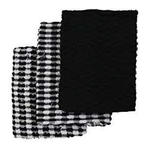 Linens Limited Terry Towelling Cotton Kitchen Tea Towels, Black/White, 3 Pack