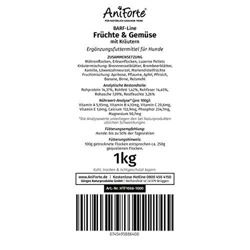 AniForte B.A.R.F. Line No2 Früchte und Gemüse- in verschiedenen Größen- mit Kräutern 1kg glutenfreie Gemüseflocken Hundefutter- Naturprodukt für Hunde - 4