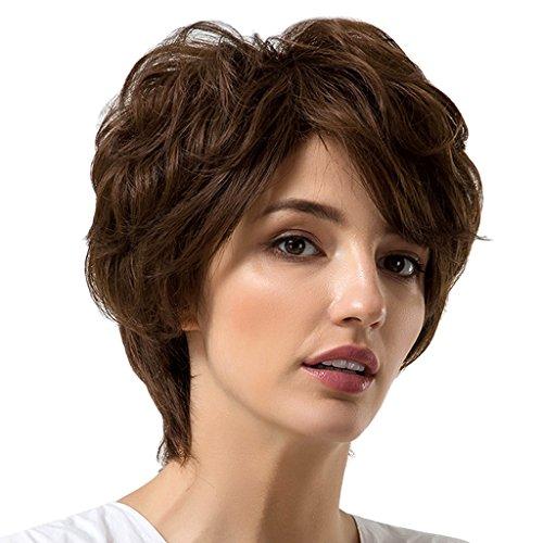 FLAMEER Natürliche Braune Wirkliche Menschliche Haar Kurze Perücke Shaggy Lockige Volle Hauptperücken Mit ()