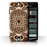 Carcasa/Funda STUFF4 dura para el Sony Xperia Arc S/LT18i / serie: Mandala del Arte - Pétalo/Sepia
