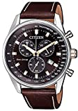 Citizen Herren Chronograph Quarz Uhr mit Leder Armband AT2396-19X