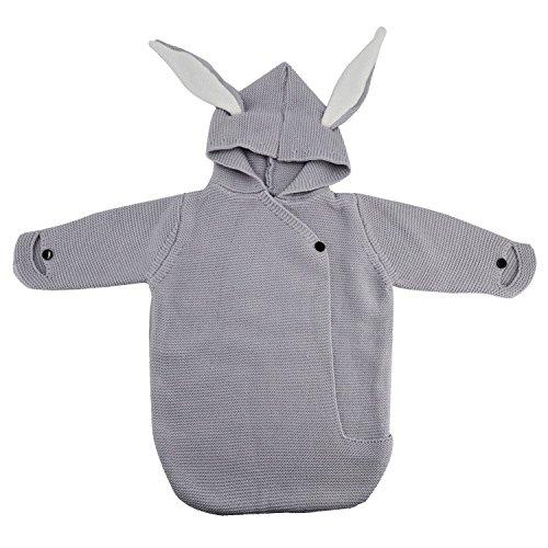 LeWi Babyschlafsack aus kuscheliger Baumwolle - 80cm Sommer Schlafsack für Baby und Neugeborene bis 3 Monate - Pucksack und Einschlagdecke fürs ganze Jahr - Größe 50/56-68/74 (Gray)