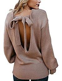 6719620d1c8ef LAEMILIA Pull Femme avec Noeud sur Le Dos Manche Longue Coupe Confort  Oversize Sweater Tops Tricôté