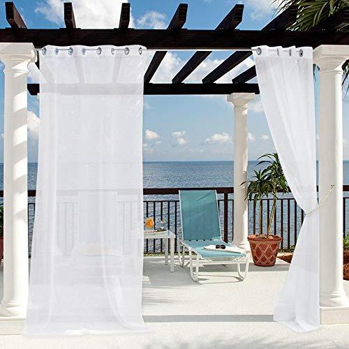 Clothink Outdoor Vorhänge mit Ösen 132x215cm Weiss - Winddicht Wasserdicht Vorhänge, Mehltau beständig, für Gartenlauben Balkon, Strandhaus Vorhalle, Pergola, Cabana