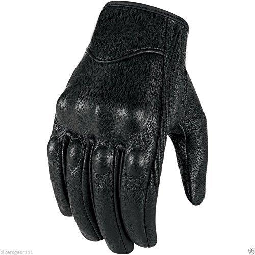 Bikers Gear - Guanti Corto Harley Cruiser in pelle nera con rivestimento termico, Nero, L - Pelle Moto Guanto