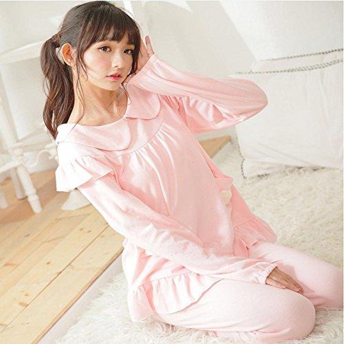DMMSS Peignoir Ladies Spring / Summer Cotton Pyjamas Manches Longues 2-Piece Douce Lapel Pyjamas Set Pink