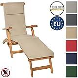 Beautissu Auflage für Deckchair LoftLux DC 175x45x5cm Luxus Polster-Auflage Liege-Stuhl - Bezug Abnehmbar Natur