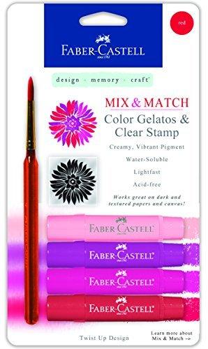 Faber-Castell Mix & Match Gelatos Stick W/Clear Stamp 4/Pkg Red by Faber-Castell