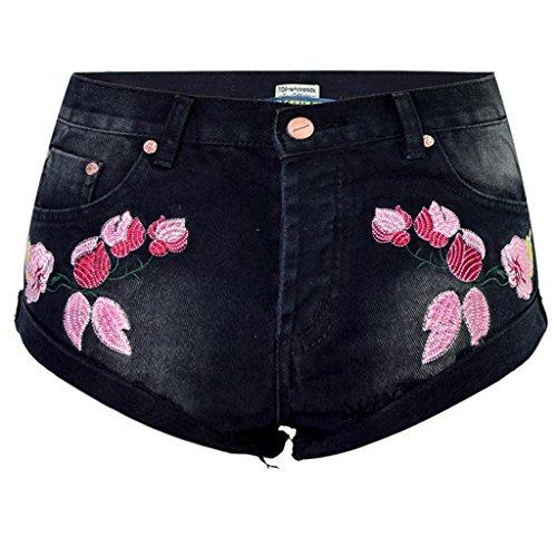 Byjia Frauen Gestickte Denim-Shorts Sommer Curling Quaste Lose Hosen Party Mini Jeans Clubwear . Black . 34 -