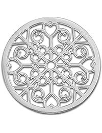 Amello Coins patrón de joyas, Coin Plata Acero Inoxidable–Coin para Amello coinsfassung para mujer–de 30mm, tamaño M Acero Inoxidable Joyas Stainless Steel esc523j