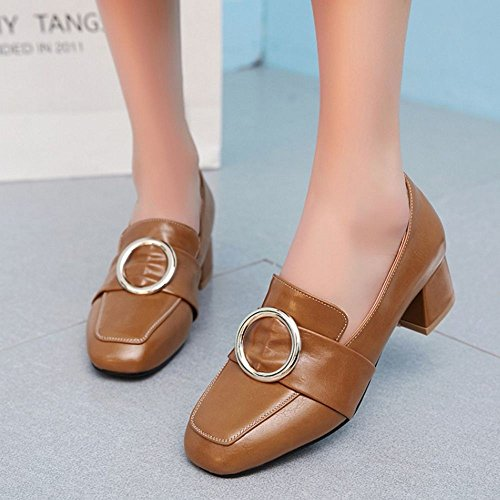 COOLCEPT Damen Klassische Buckle Belt Brogues Shoes Chunky Mid Heels Pumps Extra Sizes Braun