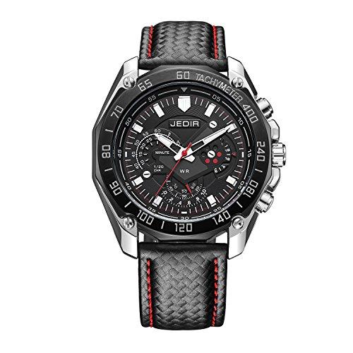 Montre style militaire GuTe pour homme, avec chronomètre, noire