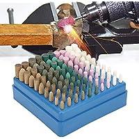 Abrasivo de la muela abrasiva, abrasivo de lana/sésamo/caucho/piel de vaca/herramienta de pulido de la muela Herramienta abrasiva Vástago de 3 mm para piezas reemplazables (100 piezas)