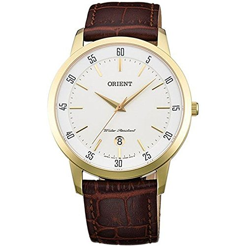 Orient Men's 40mm Brown Leather Band Steel Case Quartz Analog Watch FUNG5002W0