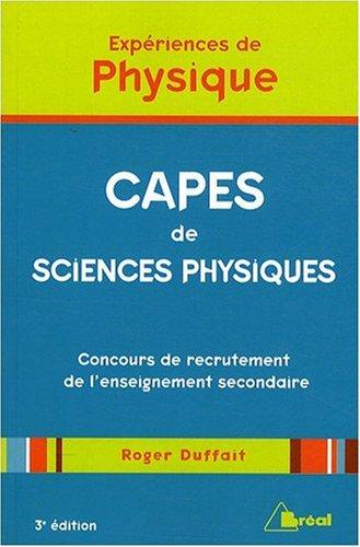 Expériences de Physique - CAPES de sciences physiques