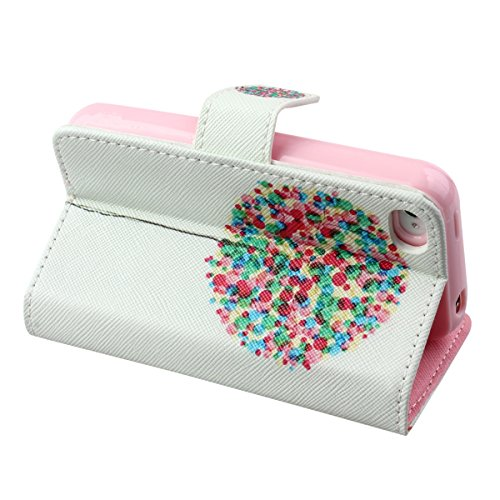 iPhone 4S Hülle, iPhone 4 Hülle,ISAKEN iPhone 4S Hülle Case,Handy Case Cover Tasche for iPhone 4S / iPhone 4, Bunte Retro Muster Druck Flip PU Leder Tasche Case Hülle im Bookstyle mit Standfunktion Ka Bunt Graffiti Ballon